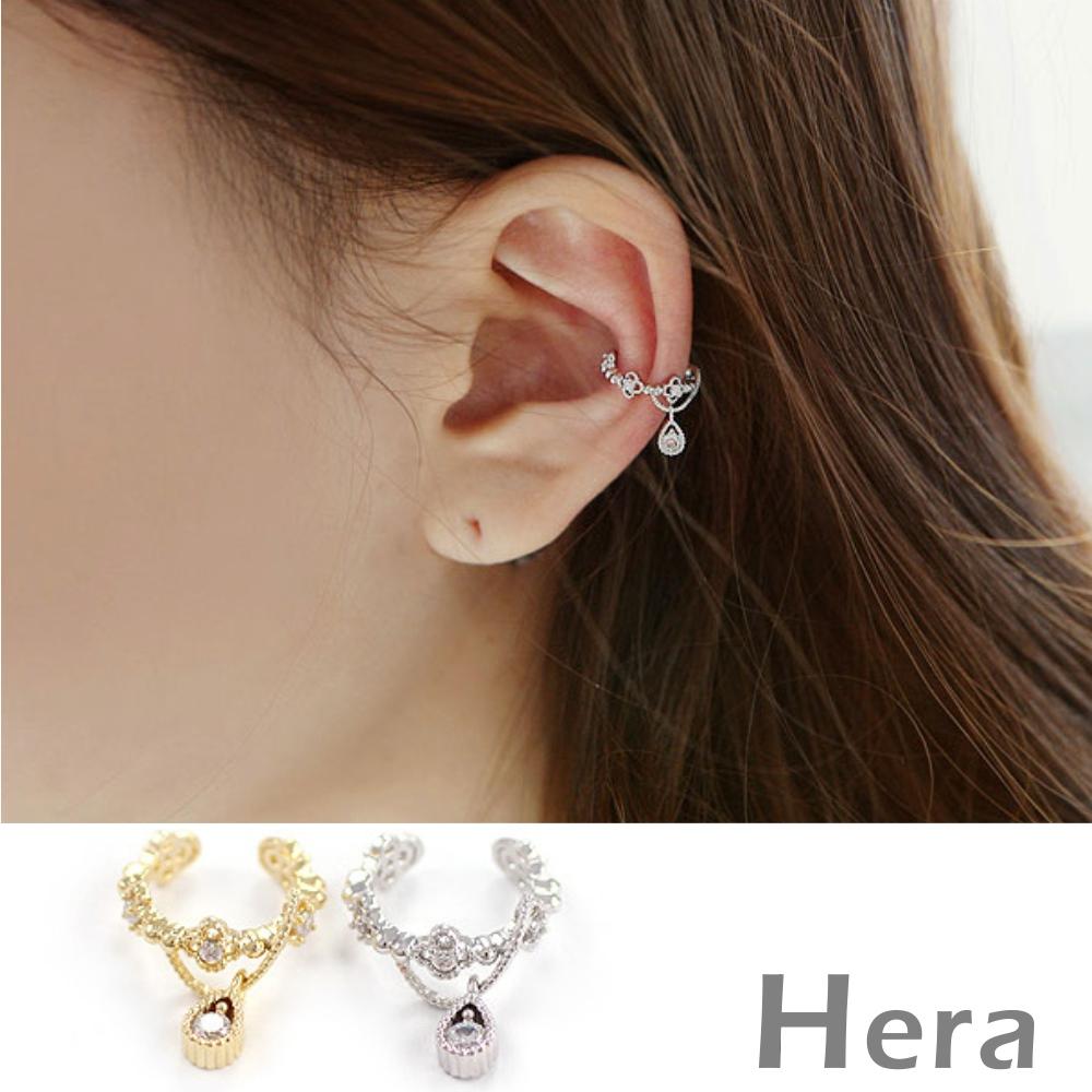 Hera赫拉 裸雕鋯石天使淚滴無耳洞耳環/耳扣/耳骨夾-2色( 單顆)銀色