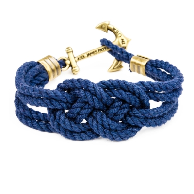 Kiel James Patrick 美國手工船錨棉麻繩結手環 深藍卡里克結編織