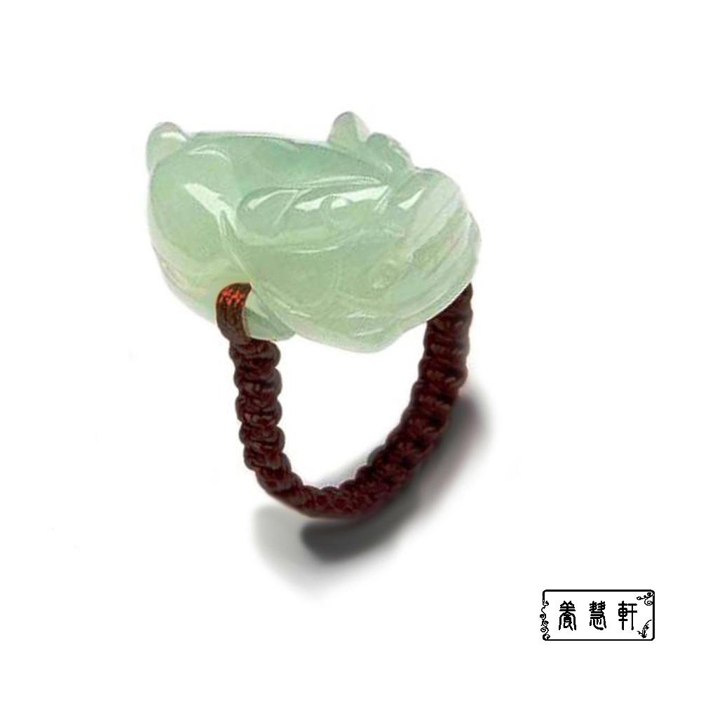 【養慧軒】天然緬甸玉雕--咬錢貔貅戒指