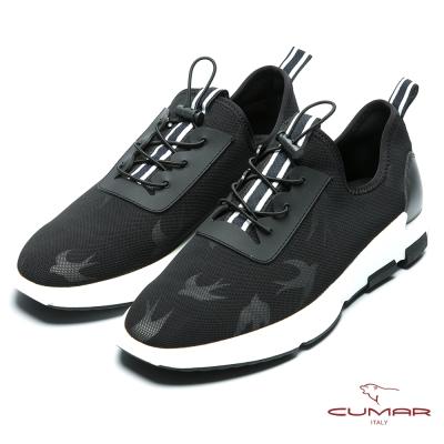 CUMAR 時尚潮流 進口透氣網布休閒運動鞋-黑