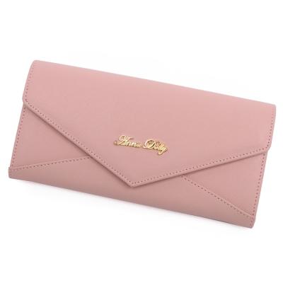 ANNA DOLLY 俏麗微甜Envelope真皮信封長夾 石英粉