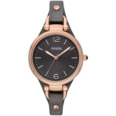 FOSSIL 優雅仕女時尚造型腕錶-深灰x玫瑰金框/32mm