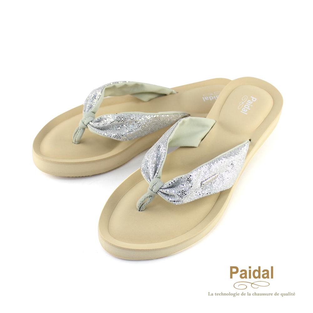 Paidal 亮蔥綁帶厚底氣墊美型夾腳拖鞋-銀