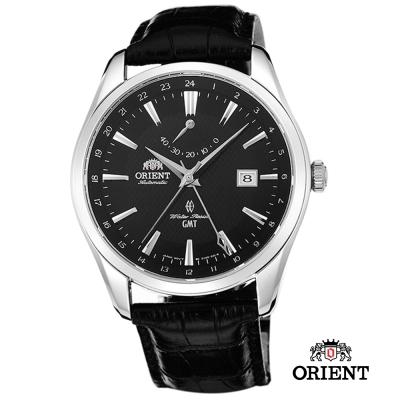 ORIENT 東方錶 GMT系列 雙時區藍寶石機械錶-黑色/41mm