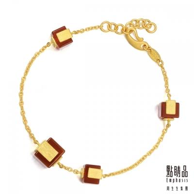 點睛品Emphasis 黃金手環- g* collection -純金紅瑪瑙