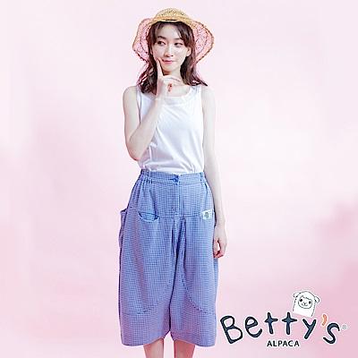 betty's貝蒂思 經典格紋寬鬆褲(淺藍)