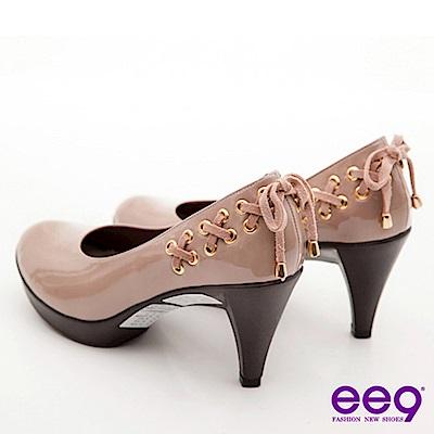 ee9心滿益足-浪漫舞蝶繫帶裝飾漆皮高跟鞋-慢舞裸
