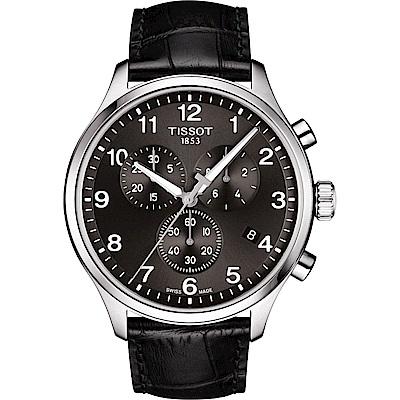 TISSOT天梭 韻馳系列CHRONO XL 大徑面計時腕錶-灰x黑/45mm