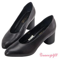 Grace gift-全真皮微尖頭簡約素面跟鞋 黑