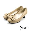 GDC-質感素面蝴蝶結牛皮粗低跟鞋-卡其色