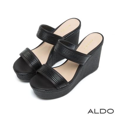 ALDO-原色蛇紋麻花編織鏤空厚底涼鞋-尊爵黑色