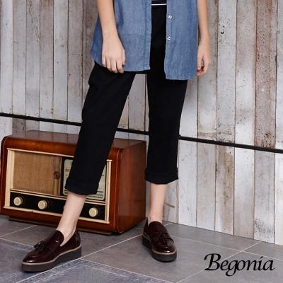 Begonia 剪裁鬆緊彈性長褲(共兩色)