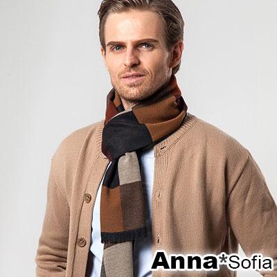 AnnaSofia 雙面中性都會風 仿羊絨窄版長圍巾(彩方格-黃咖系)