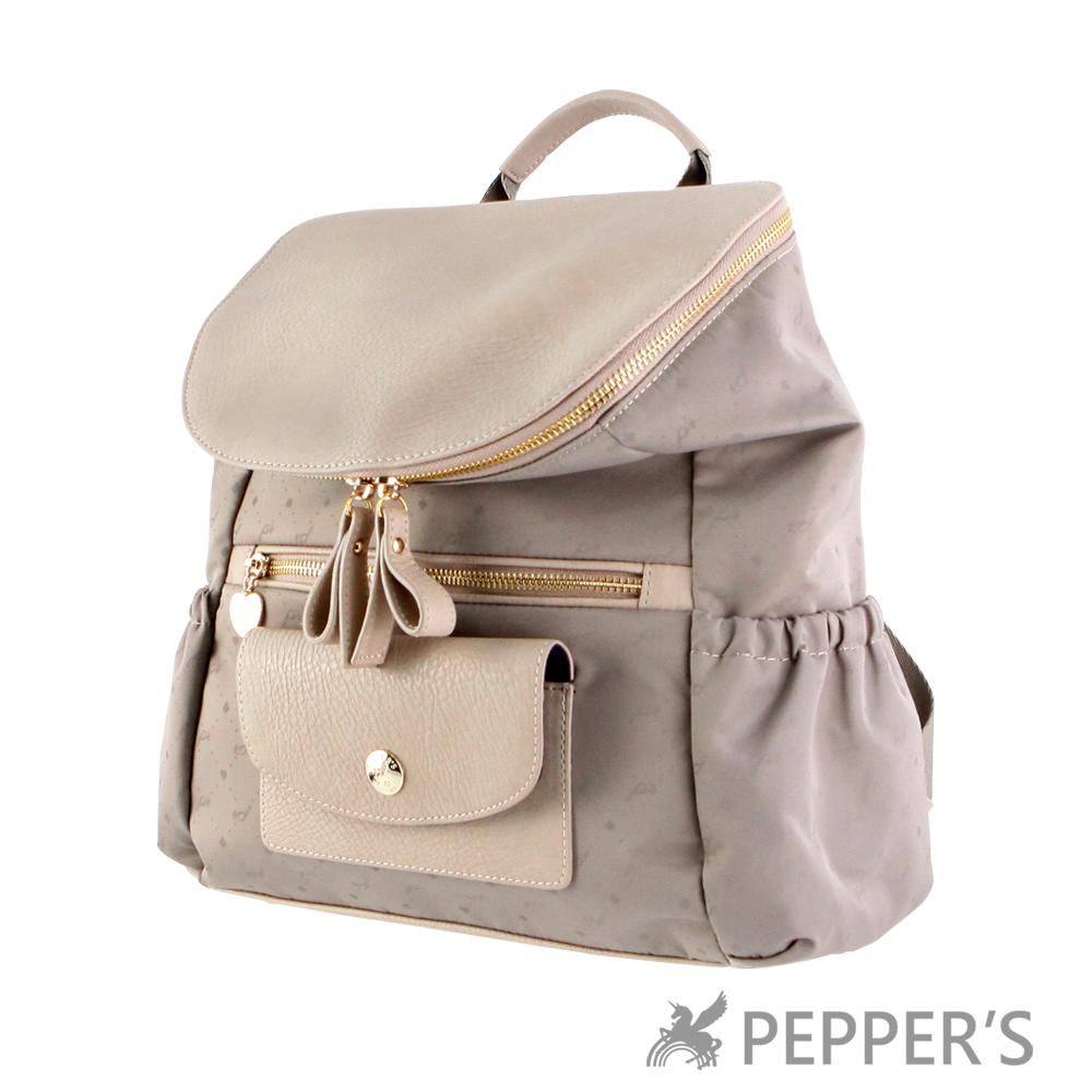 PEPPER`S 天馬包 胡椒翻蓋底紋後背包-奶茶色