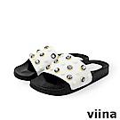 viina-珍珠寶石拖鞋-白色