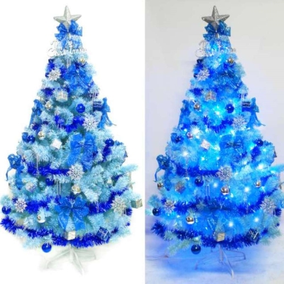 台製6尺(180cm)豪華冰藍色聖誕樹(銀藍系配)+100燈LED藍白光2串