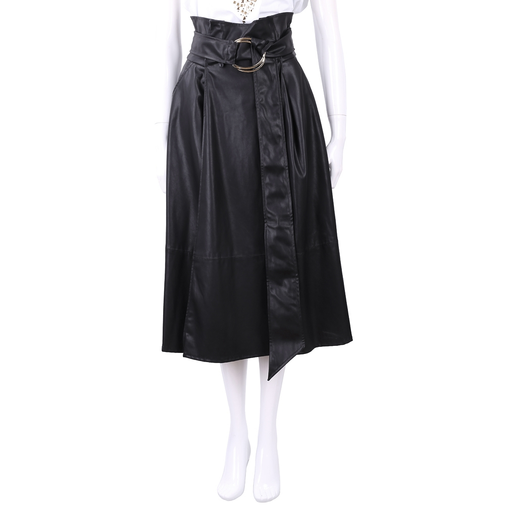 ELISABETTA FRANCHI 高腰金屬環細節黑色仿皮澎裙
