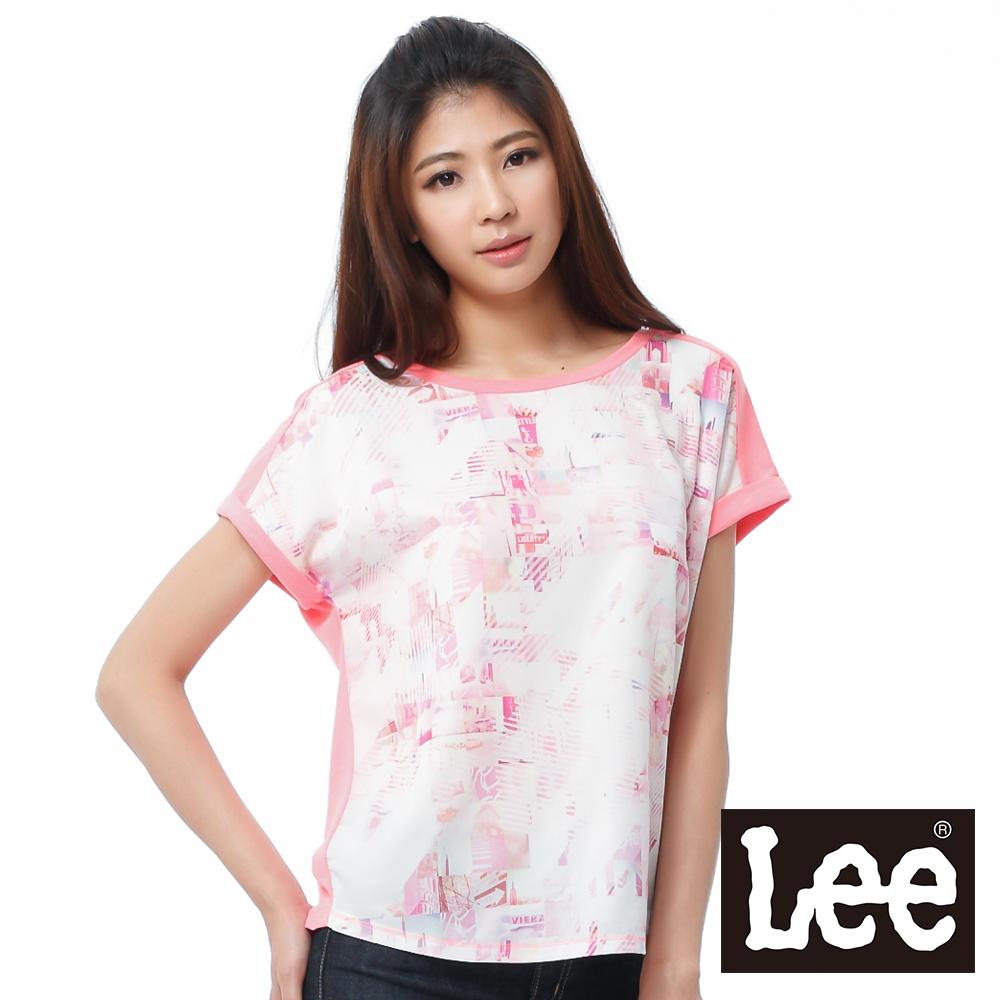 Lee 短袖T恤 連袖布料拼接成是彩印-女款(亮粉橘)