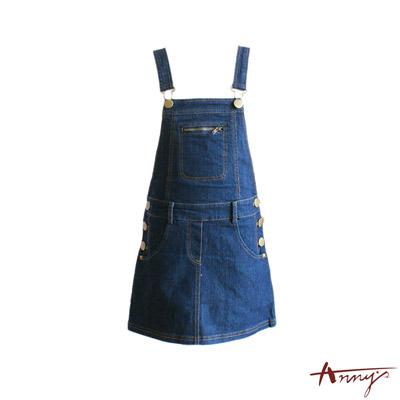 休閒拉鍊牛仔吊帶裙*0415藍