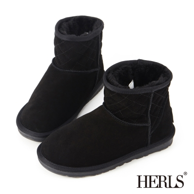 HERLS-全真皮-菱格斜口造型毛絨雪靴-黑色