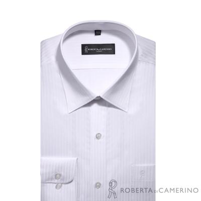 ROBERTA諾貝達 台灣製 合身版 優雅商務緹花條紋長袖襯衫 白色