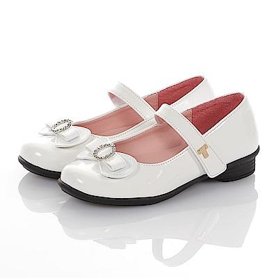 TOPUONE 傳統手工鞋廠水鑽減壓公主皮鞋童鞋-白