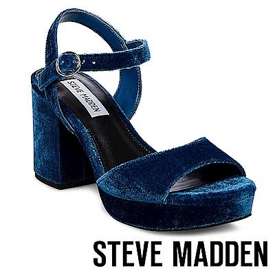 STEVE MADDEN-SPINNER 細踝帶厚底防水台粗跟涼鞋-絨藍