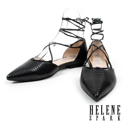 平底鞋-HELENE-SPARK-側空造型綁帶尖頭平底鞋-藍