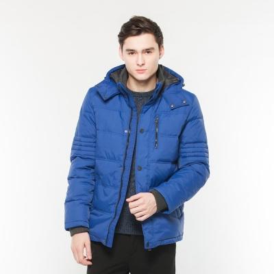 Hang Ten - 男裝 -ThermoContro拉鍊羽絨連帽外套 - 藍紫