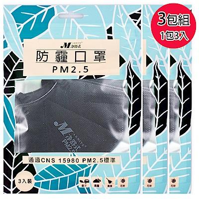 淨舒式 防霾口罩PM 2 . 5  ( 3 包組一包 3 入)(黑)