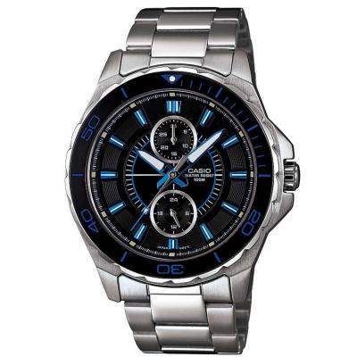 CASIO 潛水風計時轉盤指針運動錶(MTD-1077D-1A1)-黑面藍針/46mm