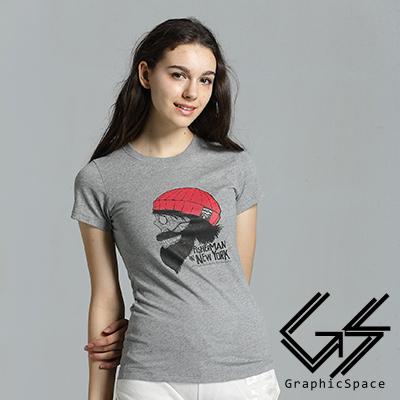 紅毛帽鬍子骷髏磨毛水洗T恤 (共二色)-GraphicSpace