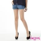SOMETHING 短褲 NEO清新丹寧短色褲-女-藍色
