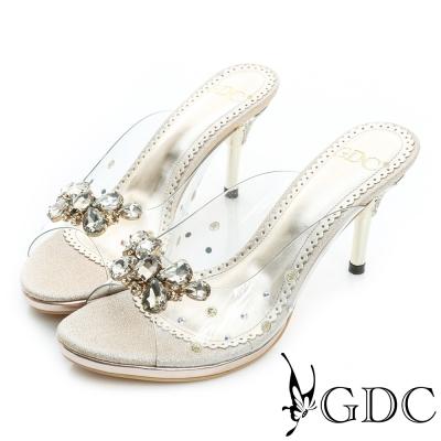 GDC-性感寶石水鑽蝴蝶高跟涼拖鞋-金色