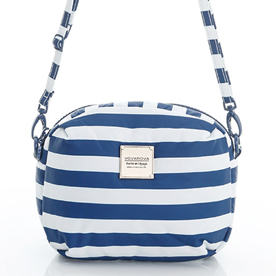 VOVAROVA空氣包-圓鼓鼓側背包-經典條紋-藍