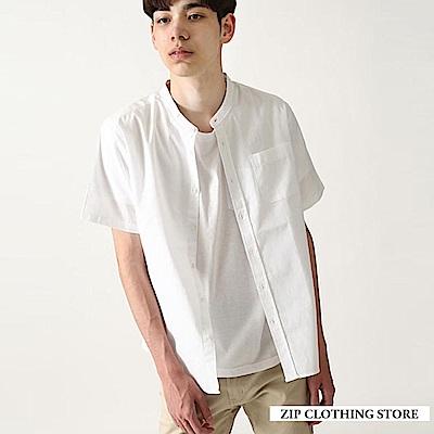 基本款立領短袖襯衫(20色) ZIP日本男裝