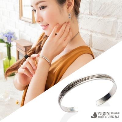 維克維娜 精緻百搭 麻繩刻紋純銀手環