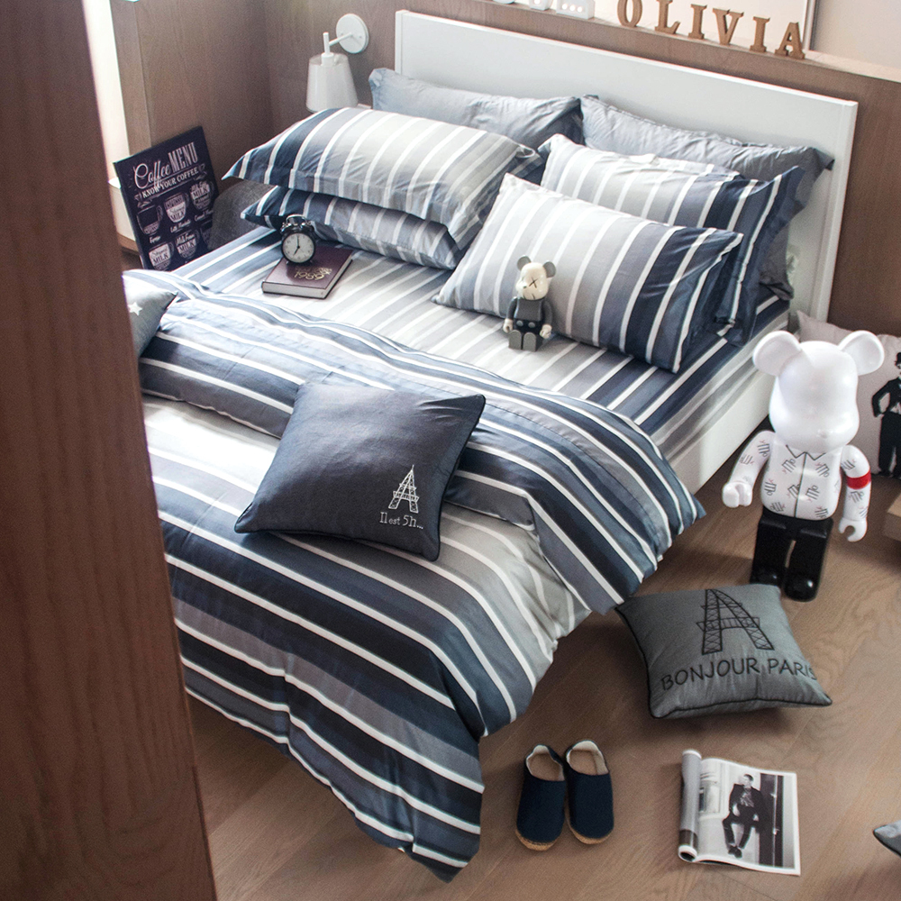 OLIVIA  城市藍調 灰  雙人床包被套四件組
