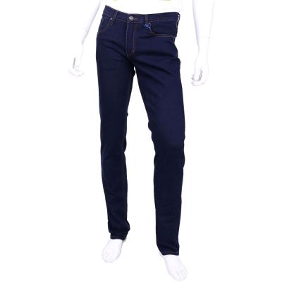 VERSACE 深藍色金屬LOGO飾直筒牛仔褲