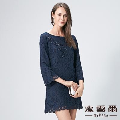 麥雪爾 鑽飾縫珠蕾絲拉鍊洋裝