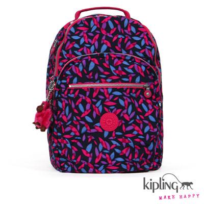 Kipling-後背包-藍粉桃葉形印花