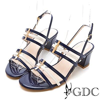 GDC-真皮春夏活潑色系低跟撞色涼鞋-藍色