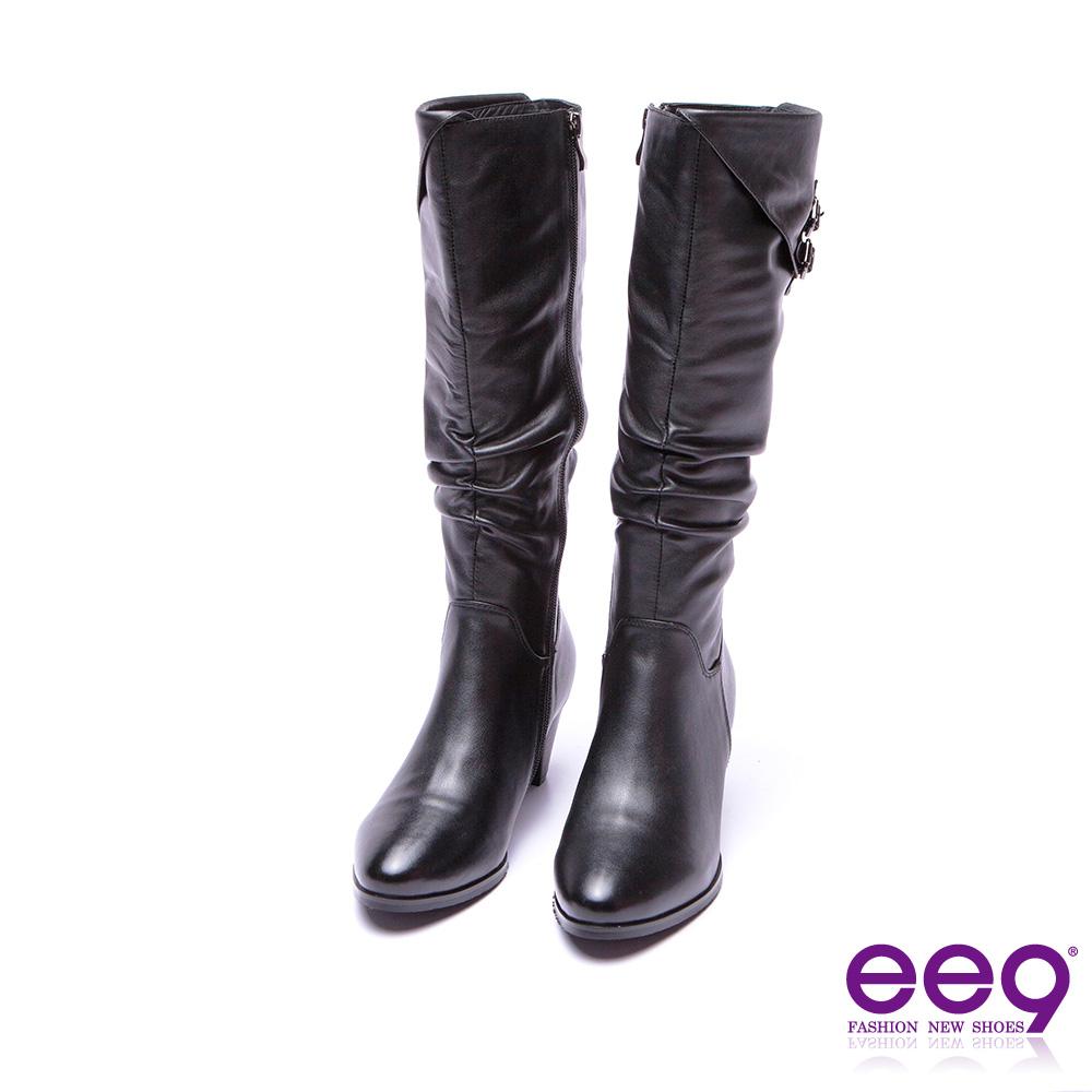 ee9 高雅氣質金屬扣環抓皺繫帶素面粗跟長筒靴 黑色