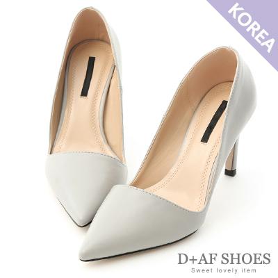 D+AF 都會氣質.素面斜口尖頭高跟鞋*灰