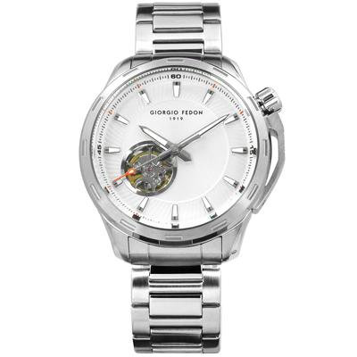 GIORGIO FEDON 1919 自動兼手動上鍊機械錶不鏽鋼手錶-銀色/42mm