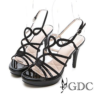 GDC-交叉水鑽性感女神款細跟涼鞋-黑色