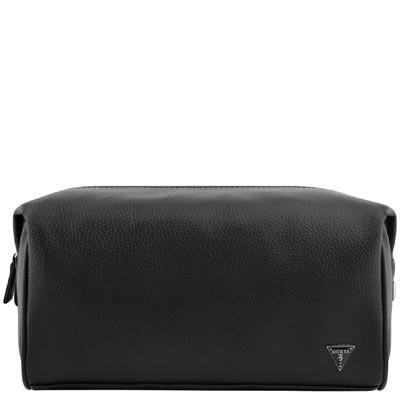 GUESS 黑色皮革壓紋化妝包/收納包