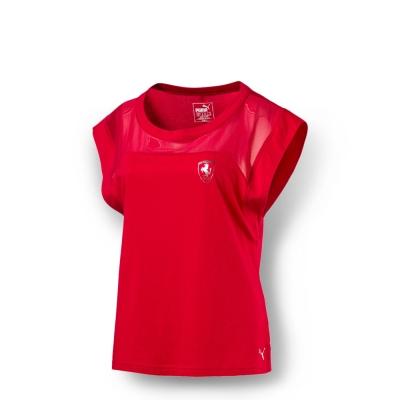 PUMA-女性 法拉利經典系列網布拼接短袖T恤-法拉利紅
