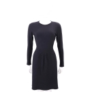 MARELLA 黑色織紋拼接設計長袖洋裝