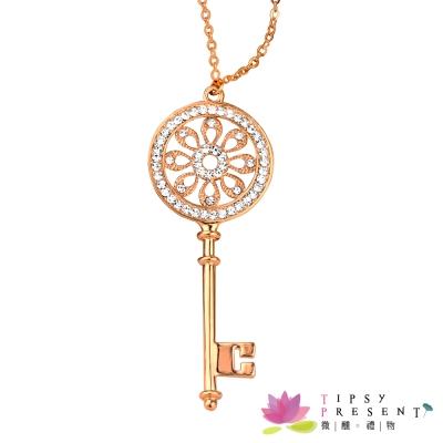 微醺禮物 項鍊 水鑽 鍍K金  羅浮宮的鑰匙 長鍊 毛衣鍊